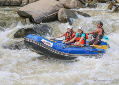 White water rafting amongst elephants